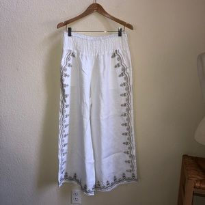 White linen wide leg pants beige embroidered L-XL